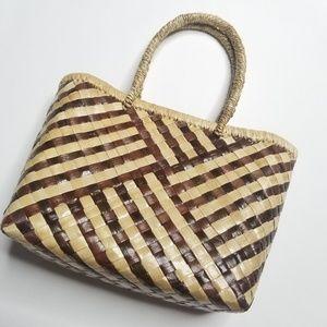Vintage Boho Woven Tropical Mini Tote Bag